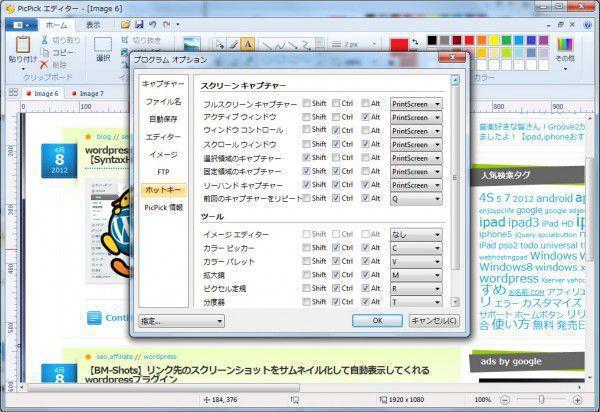 【PicPick】無料スクリーンショットキャプチャ編集ソフト (2)