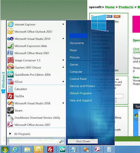Spesoft Free Windows 8 Start Menu