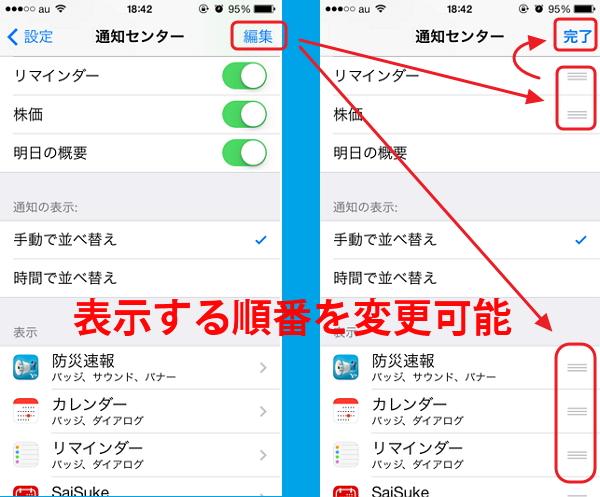 iOS 7通知センターのカスタマイズ方法