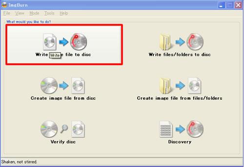 ダウンロードしたISOファイルをImgBurnなどを使ってCD-Rに焼く。