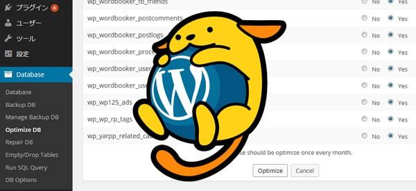 WP-DBManager でデータベースの最適化を行おう!