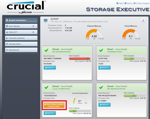 「 Storage Executive Client 」を使った Crucial SSD ファームウェアアップデート手順解説