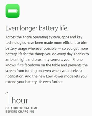 iOS 9 はバッテリーの持ちが良くなる!
