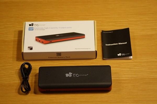 EC Technology 第三世代大容量16000mAh モバイルバッテリーのセット内容