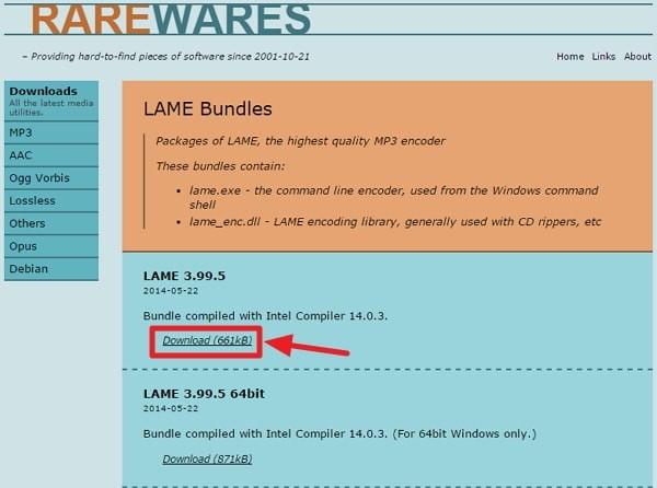 LAMEのダウンロード方法
