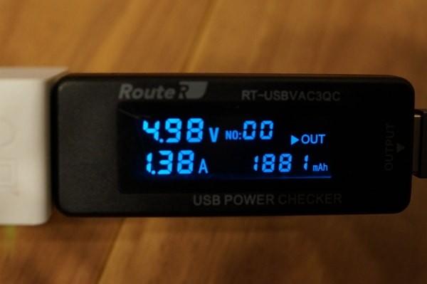 「Omakerライトニングケーブル」を使って充電した際の数値。