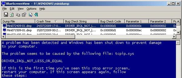 BlueScreenView:ブルースクリーン発生時の原因特定に