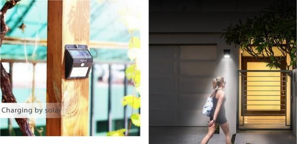 ソーラー充電式LEDライト「Aglaia LT-O1」(人感センサー/防水機能搭載)レビュー