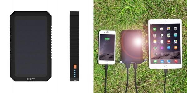 「Aukey ソーラーパネル付きモバイルバッテリー PB-P8」のセット内容&仕様/特徴