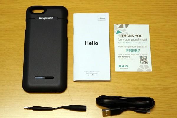 「iPhone 6/ 6s RAVPower 3000mAh バッテリー内蔵ケース」のセット内容