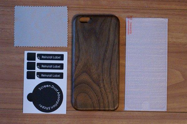 iPhone 6/6s用「黒くるみ天然木」ケースのセット内容&特徴