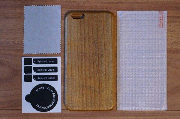 iPhone 6/6s Plus用「天然桜ウッド」ケースのセット内容