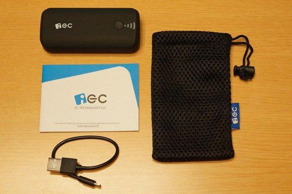 「EC Technology 5200mAh モバイルバッテリー」のセット内容