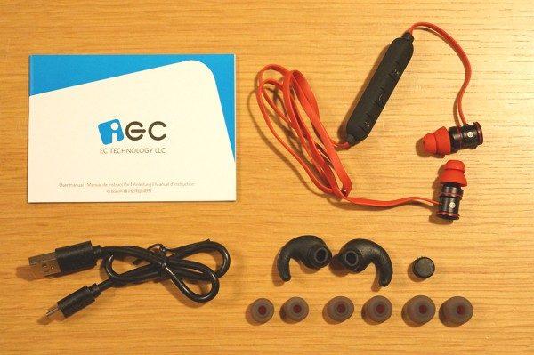 「EC Technology Bluetooth 4.1 ワイヤレスイヤホン」のセット内容