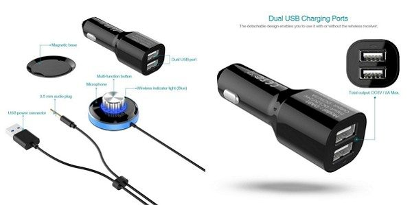 「dodocool ワイヤレス受信機 3.5mm入力ジャック 2ポートUSBカーチャージャー付き」の特徴/仕様