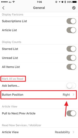「Reeder 3」の【既読ボタン(Mark all as read)】を右から左に変更する方法
