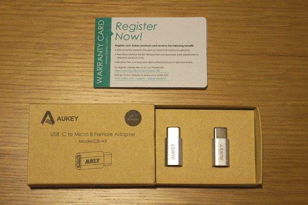 「Aukey USB C to Micro USBアダプタ 2点セット」のセット内容