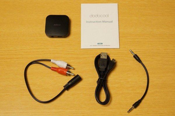 「dodocool 2in1 Bluetoothワイヤレスオーディオ送受信機」のセット内容