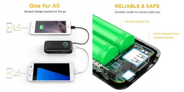 「EasyAcc 6700mAh モバイルバッテリー 2台同時充電 Lightningケーブル付き」の特徴/仕様