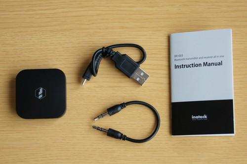 「Inateck Bluetoothワイヤレスオーディオトランスミッター BR1003」のセット内容