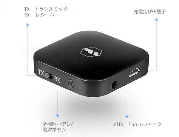 「Inateck Bluetoothワイヤレスオーディオトランスミッター BR1003」の基本的な使い方
