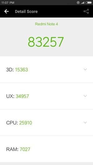 Xiaomi Redmi Note 4 Antutu スコア