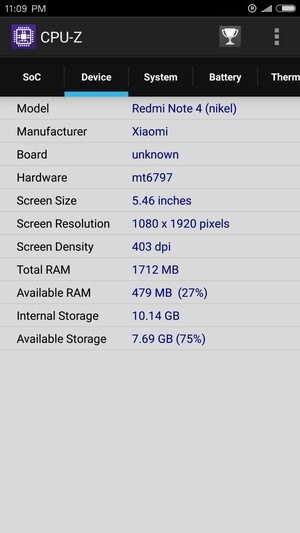 Xiaomi Redmi Note 4 cpu z