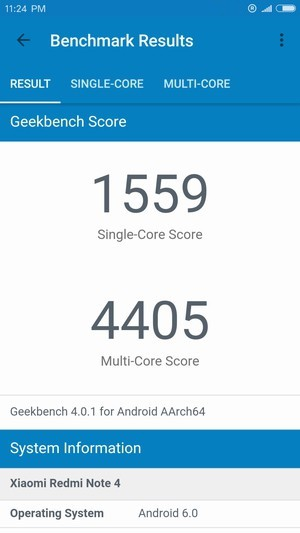 Xiaomi Redmi Note 4 GeekBench 4 スコア