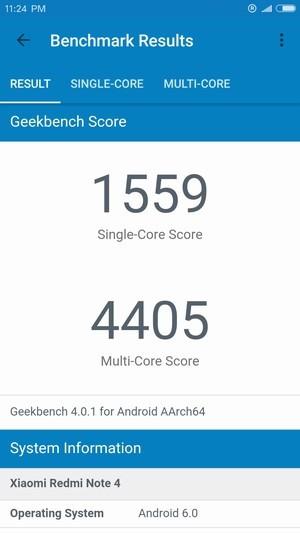 Xiaomi Redmi Note 4 GeekBench 4 スコア