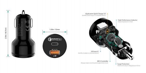 「AUKEY シガーソケットチャージャー USB-A + USB-C ポート」の特徴/仕様