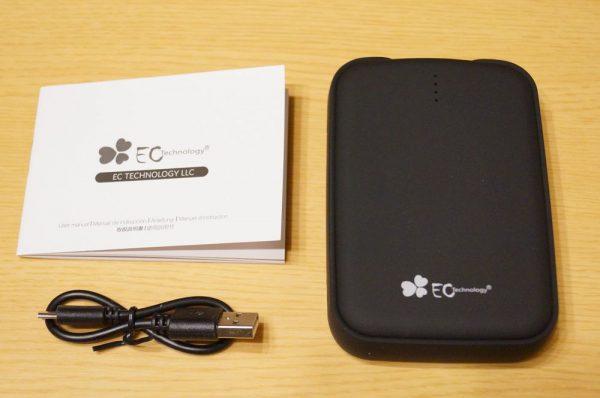 「EC Technology 12000mAh モバイルバッテリー 3ポート」のセット内容
