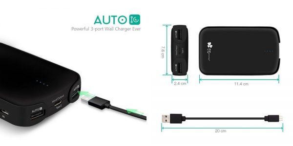 「EC Technology 12000mAh モバイルバッテリー 3ポート」の特徴/仕様