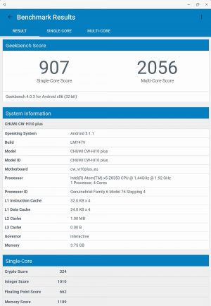 CHUWI Hi10 Plus:Antutu, Geekbench 4 スコア