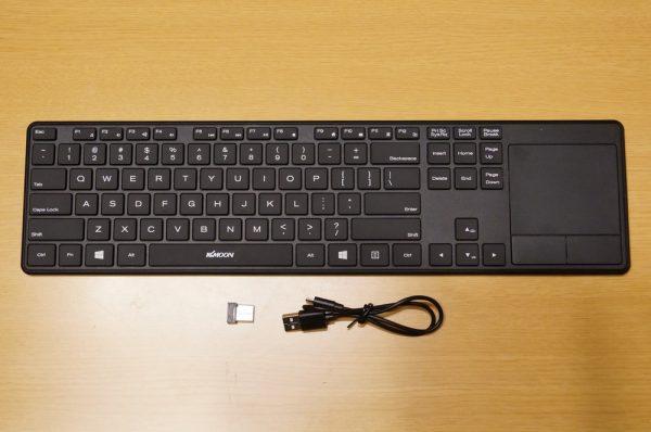 「KKmoon 英語配列 ワイヤレスキーボード」のセット内容