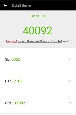 「BLUBOO Dual」のAntutuスコア、GeekBench 4スコア