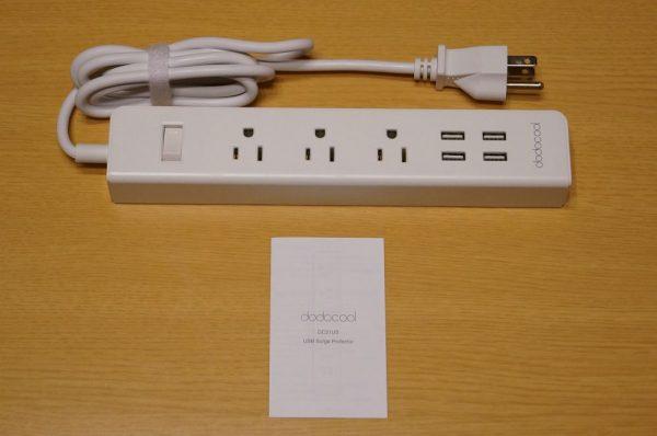 「dodocool 電源タップ ACコンセント + USB充電ポート付き」のセット内容