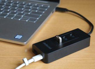 【レビュー】USB-Cポート搭載のノートパソコンにおすすめ!「dodocool USB-Cハブ to 4×USB3.0ポート」があればUSBメモリの使用やスマホの充電/データ転送が便利になりますよ!ハブを介しての充電にも対応!