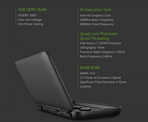 ゲーマー向け超小型Windows 10 PC 「GPD WIN」 のスペック一覧