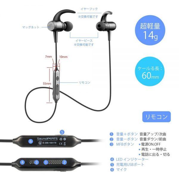 「SoundPEATS Bluetoothイヤホン Q24」の使い方・操作方法/Bluetoothペアリング方法