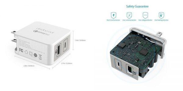 「dodocool 2ポート USB急速充電器 USB-C & QC 3.0対応 折りたたみ式プラグ」の特徴/仕様