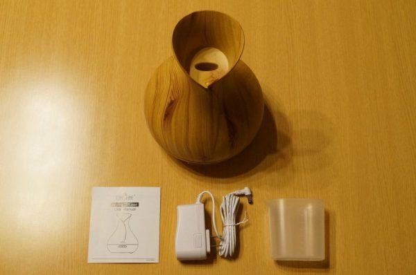 「TOMSHINE 400ml 木目調 アロマディフューザー 超音波式加湿器」のセット内容