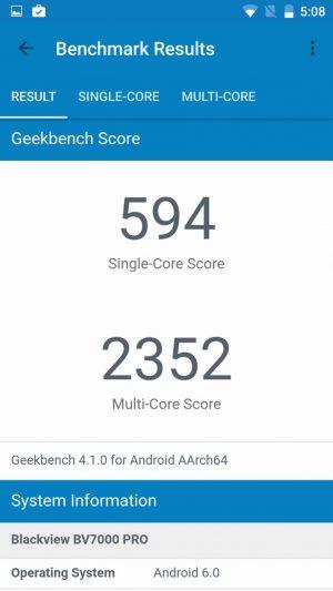 Blackview BV7000 Pro ベンチマークスコア:Geekbench4