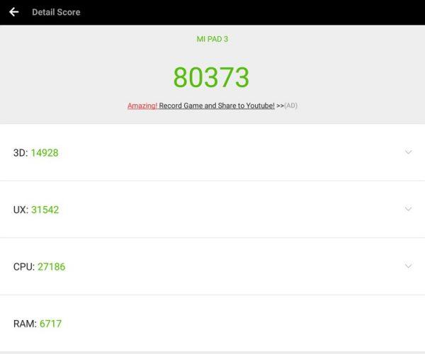 「Xiaomi Mi Pad 3」のAntutuスコア