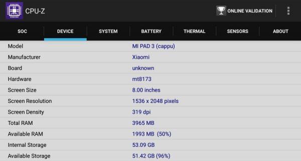 「Xiaomi Mi Pad 3」のCPU-Zのデータ