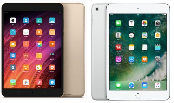 「Xiaomi Mi Pad 3」と「iPad mini 4」のスペック比較表