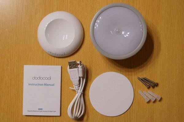 「dodocool LED センサーライト DA127GY」のセット内容