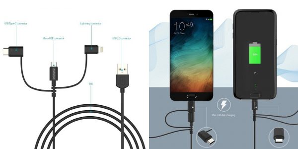 「dodocool MFi認定 3in1 Lightning+Type-C+Mirco USB充電ケーブル 1m」の特徴/仕様