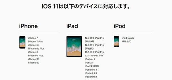 iOS 11 対応機種一覧~iPhone, iPad, iPod~iPhone 5は非対応に。
