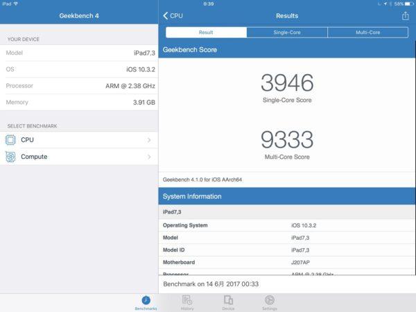「iPad Pro 10.5インチモデル」Geekbench 4スコア