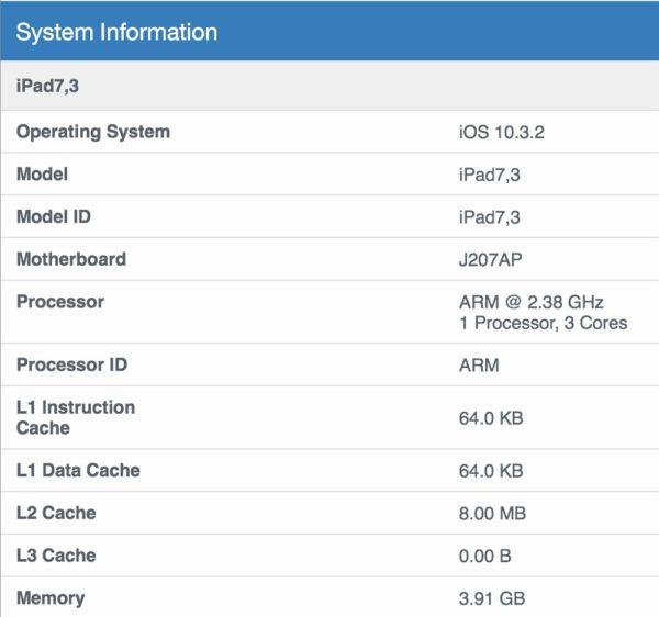 「iPad Pro 10.5インチモデル」のGeekbench 4による【システムインフォメーション】